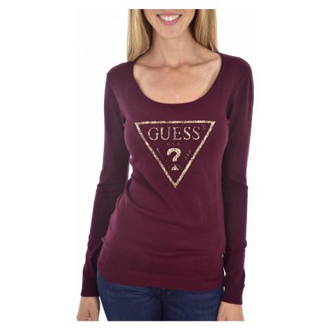 Guess GUESS dámský vínový svetr