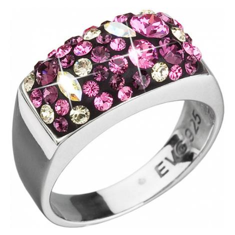 Evolution Group Stříbrný prsten s krystaly mix barev 35014.3 amethyst
