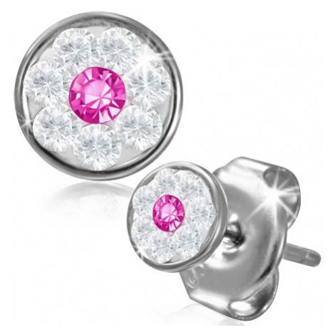 Ocelové náušnice - kvítek se Swarovski® komponenty, růžový zirkon, 5 mm Šperky eshop