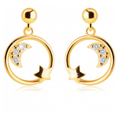 Náušnice ve 14K žlutém zlatě - měsíček se zirkony a hvězdička v kruhu Šperky eshop