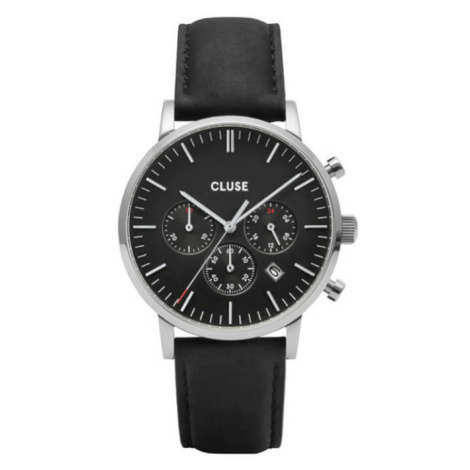 Cluse Aravis Chrono Leather Black, Silver Colour