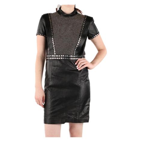 Černé kožené šaty z limitované edice DIESEL black gold edition