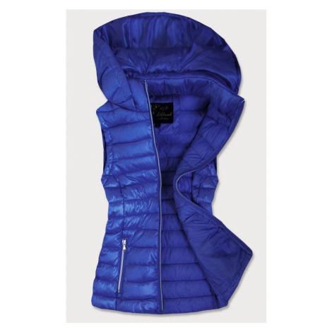 Prošívaná lesklá dámská vesta v chrpové barvě (7000)