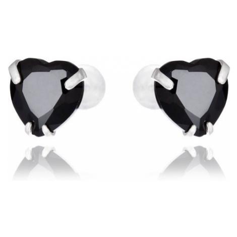 Náušnice ze stříbra 925 - černé zirkonové srdce, 7 mm Šperky eshop