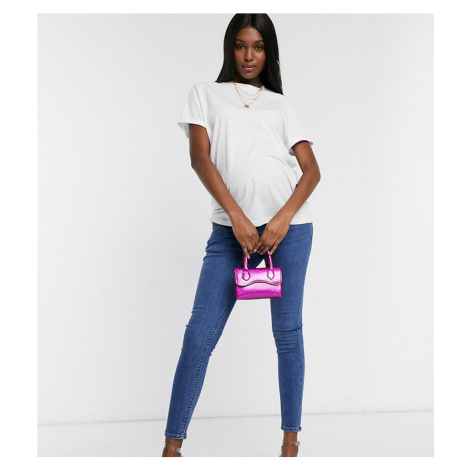 ASOS DESIGN Maternity whitby low waist skinny Jeans in rich midwash blue with over bump waist ba