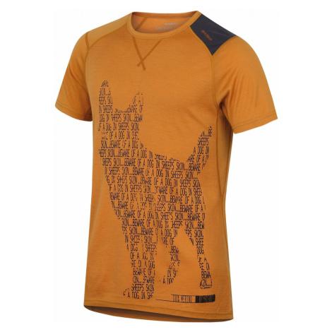 Merino thermal underwear T-shirt short men's Dog brown-orange Husky
