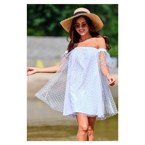 Bílé tylové tečkované šaty A355 Awama