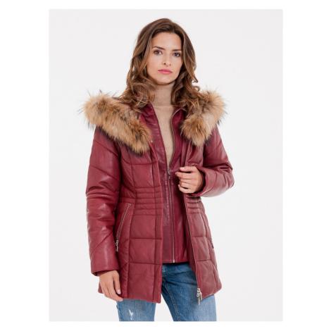 Červený dámský kožený kabát s pravou kožešinou KARA