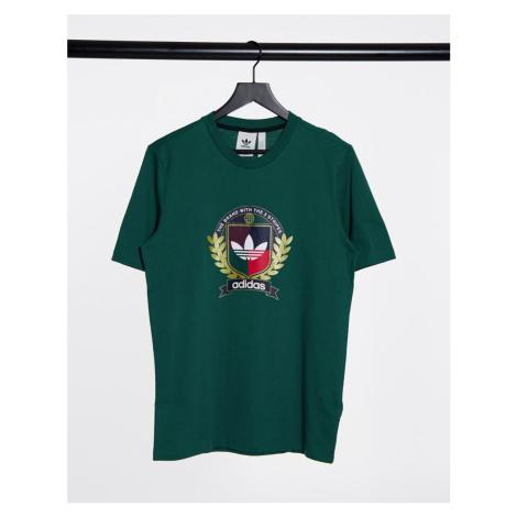 Adidas Originals collegiate crest logo crew neck t-shirt in green