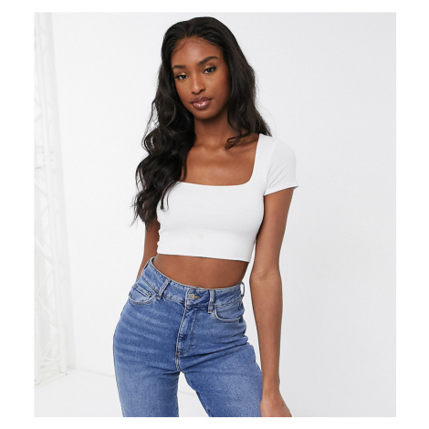 ASOS DESIGN Tall cropped top with square neck and capped sleeve in white