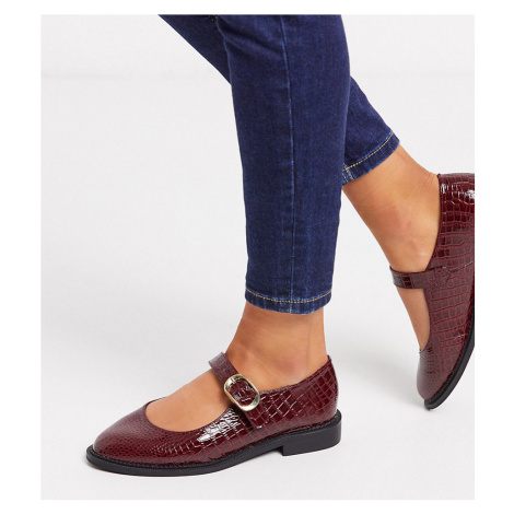 ASOS DESIGN Wide Fit Ven mary jane flat shoes in burgundy-Red