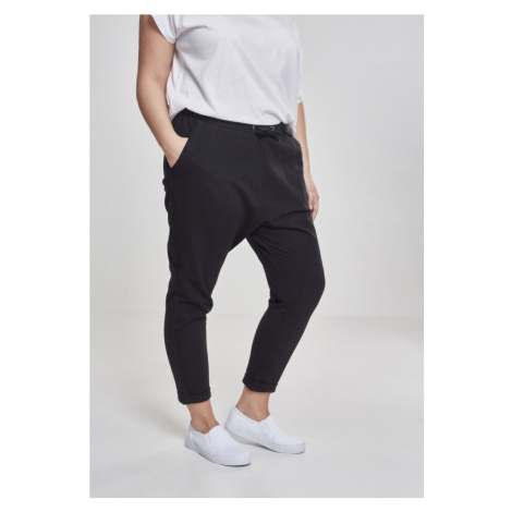 Tepláky Urban Classics Ladies Open Edge Terry Turn Up Pants - black