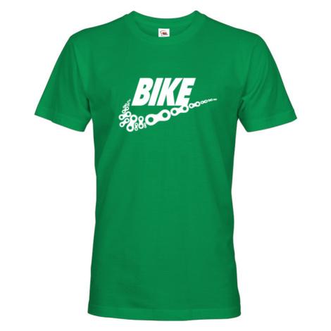 Pánské tričko pro cyklisty BIKE - vtipná parodie známé značky BezvaTriko
