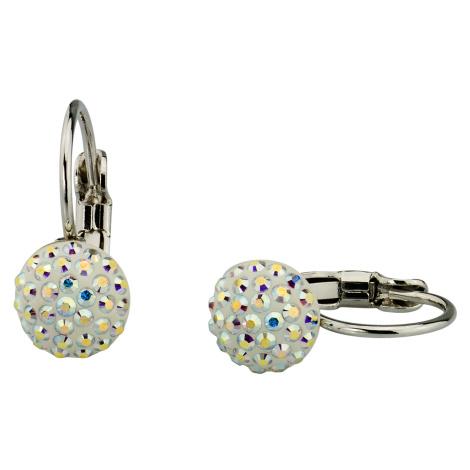Linda's Jewelry Náušnice visací kulaté Aurora Boreale Swarovski Elements IN127