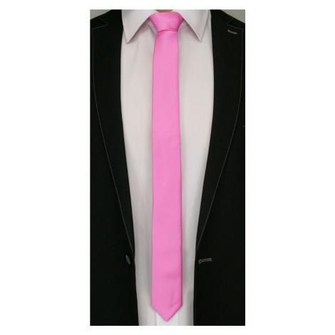 Růžová pánská kravata s pruhy