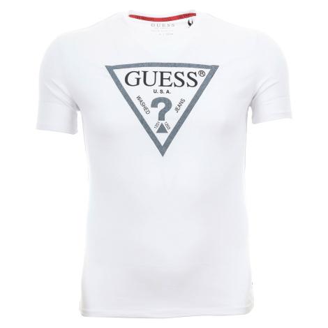 Pánské bílé tričko Guess s textilní aplikací