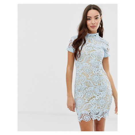 Girl In Mind crochet lace mini dress-Blue