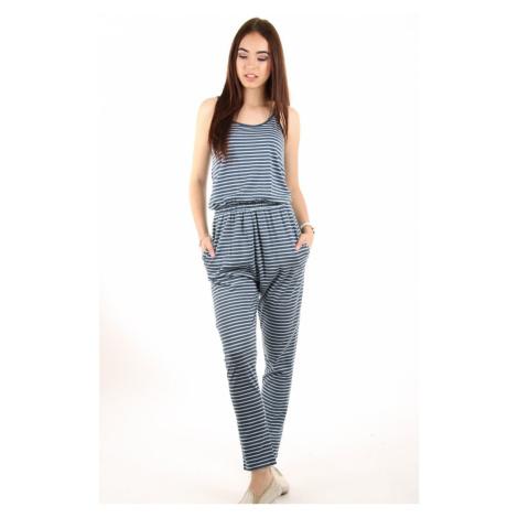 Pepe Jeans dámský modrý pruhovaný overal
