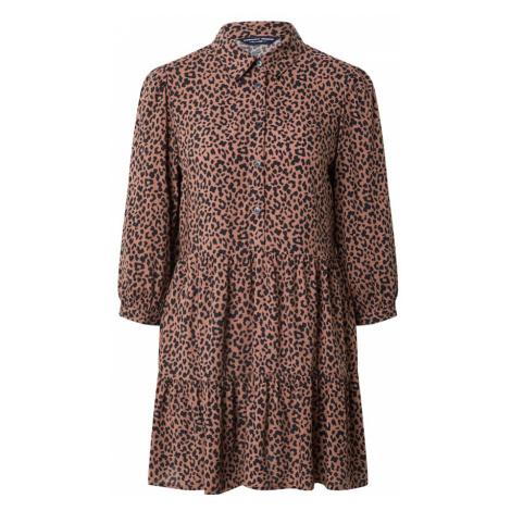 Dorothy Perkins Košilové šaty světle hnědá / černá