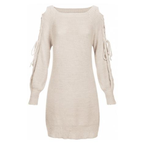 Béžový dámský svetr s vázáním na ramenou (113ART) Made in Italy