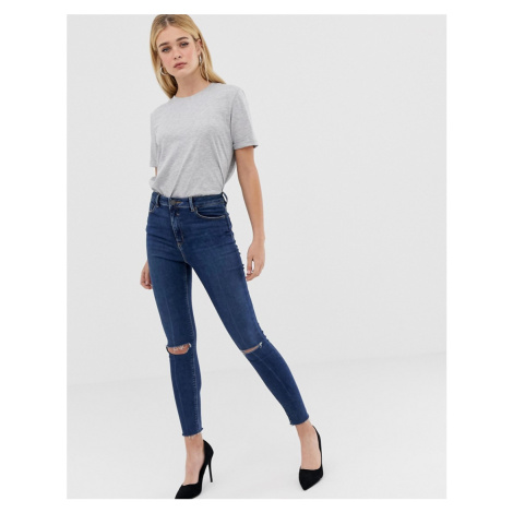 ASOS DESIGN high rise ridley 'skinny' jeans in dark wash blue with ripped knee detail