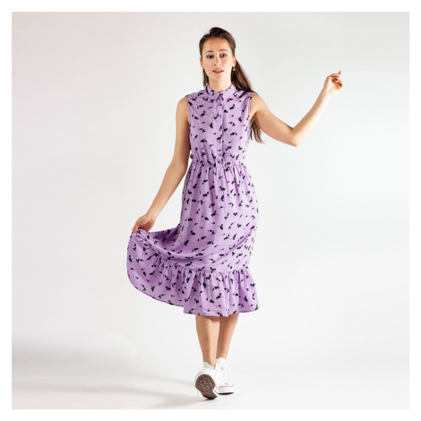 Fialové květované midi šaty Pcbabylon Pieces