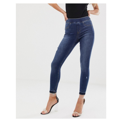 Spanx shape and lift distressed skinny jeans-Blue