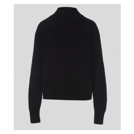 Svetr Karl Lagerfeld Signature Soutache Sweater - Černá