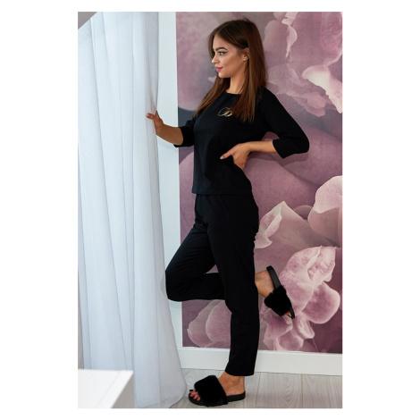 Černé bavlněné pyžamo Lara Lorin