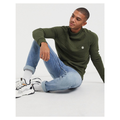 Le breve high funnel neck sweatshirt mix and match in khaki-Green