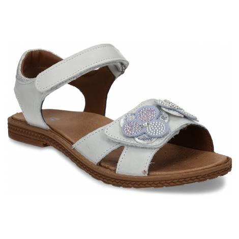 Šedé dětské kožené sandály s kvítky Baťa