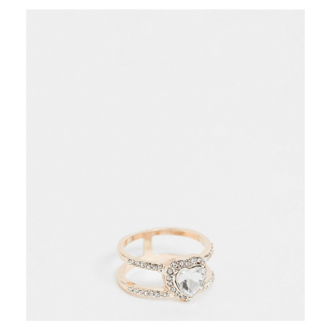 ASOS DESIGN Curve ring with heart crystal in rose gold tone-Copper