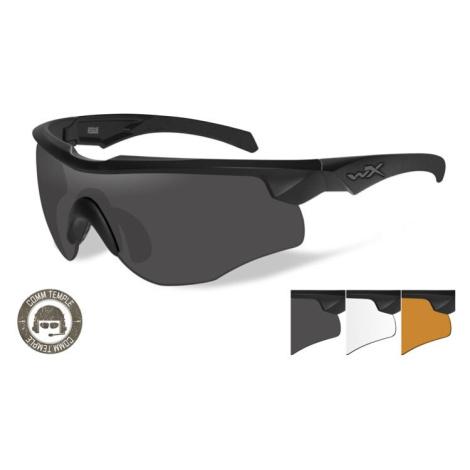 Střelecké brýle Wiley X® Rogue, úzké stranice - černý rámeček, sada - čiré, kouřově šedé a oranž