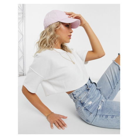 Missguided reverse cropped sweatshirt in white