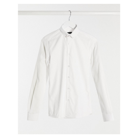 Shelby & Sons slim fit shirt in white with collar bar