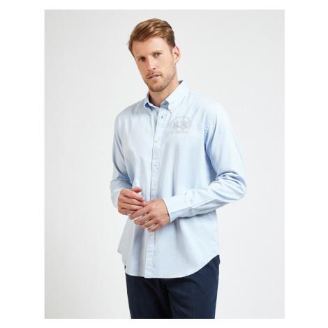Košile La Martina Man Shirt L/S Oxford Stretch - Modrá