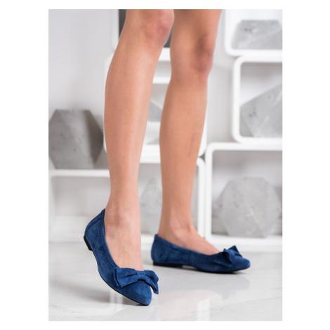 Jedinečné modré dámské  baleríny bez podpatku FILIPPO