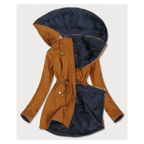 Oboustranná dámská bunda parka v karamelovo-tmavě modré barvě s kapucí (W09BIG) MHM