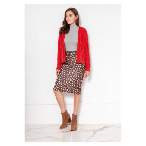Krátký svetr bez zapínání pletený kardigan s copánkovým vzorem