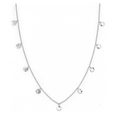 Rosefield náhrdelník Iggy Textured Coin Double Wrap Silver
