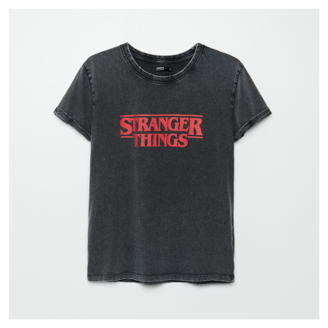 Cropp - Tričko Stranger Things - Šedá