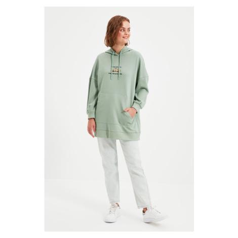 Trendyol Khaki Embroidery Detailed Knitted Sweatshirt