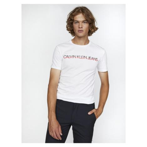 Slim Organic Cotton Logo Triko Calvin Klein Bílá