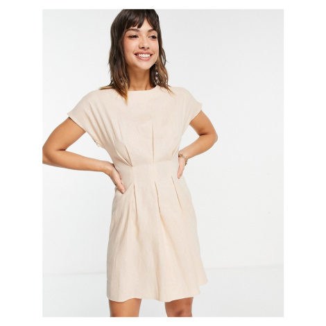 ASOS DESIGN nipped in waist mini dress in stone-Neutral