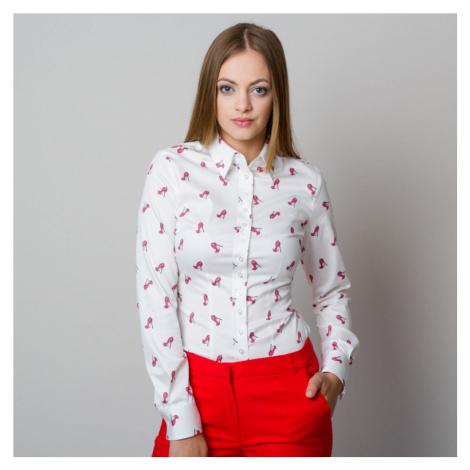 Dámská košile Willsoor 7734 v bílé barvě se vzorem střevíčků