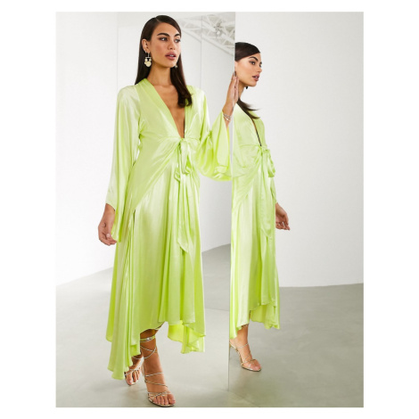 ASOS EDITION extreme kimono sleeve tie front midi dress-Yellow