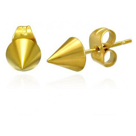 Lesklé náušnice z oceli - ostrý špičatý kužel zlaté barvy, puzetky Šperky eshop