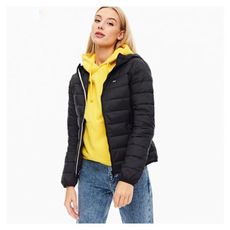 Tommy Jeans dámská černá prošívaná bunda s kapucí Tommy Hilfiger