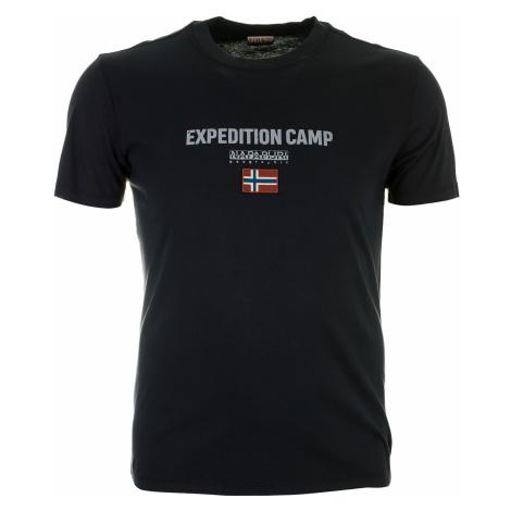 Pánské černé tričko Napapijri s velkou našitou vlajkou