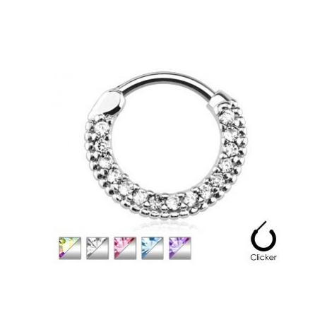 Piercing do nosu z chirurgické oceli, vroubkovaný kroužek se zirkony - Tloušťka piercingu: 1,6 m Šperky eshop